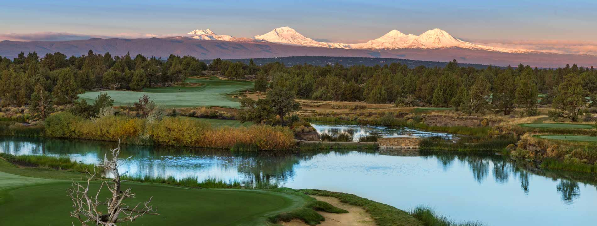 The high peaks surrounding Pronghorn Resort stay covered in snow year-round.