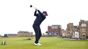 Rory McIlroy tees off during the final round of the Alfred Dunhill Links Championship on Sunday in St. Andrews, Scotland.
