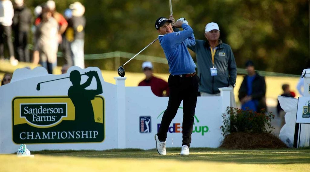 Zac Blair tees off during the 2017 Sanderson Farms Championship.