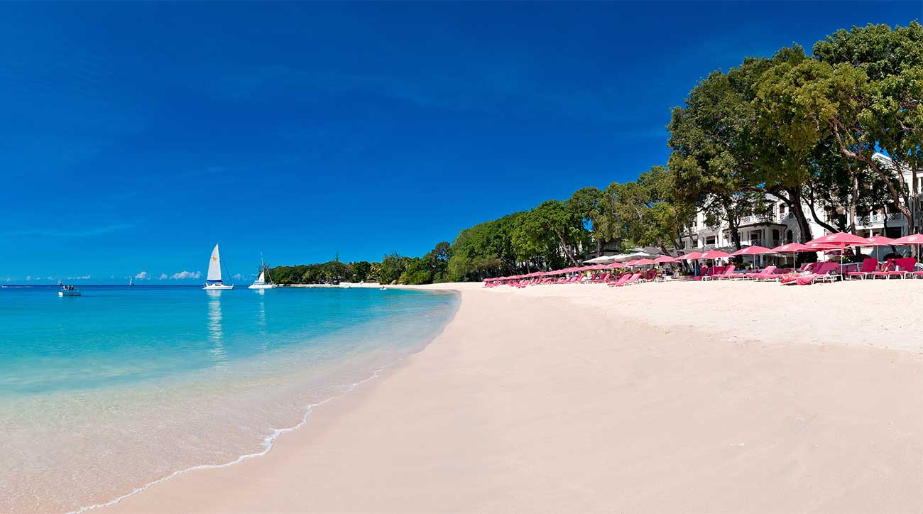The beach at Sandy Lane Resort in Barbados.