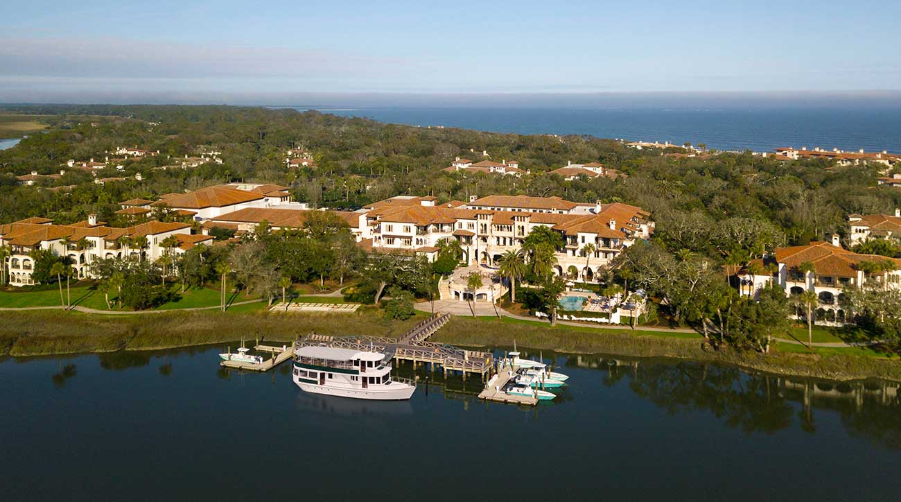 An aerial view of Sea Island Resort.