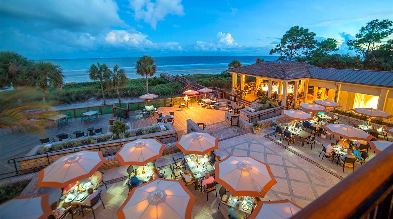The Sea Pines Beach Club offers great food, drinks, and a view.