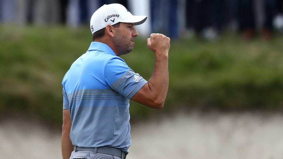Sergio Garcia celebrates his victory at the KLM Open.