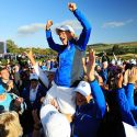 Europe captain Catriona Matthew celebrates on her players' shoulders after Europe won the Solheim Cup at Gleneagles on Sunday.