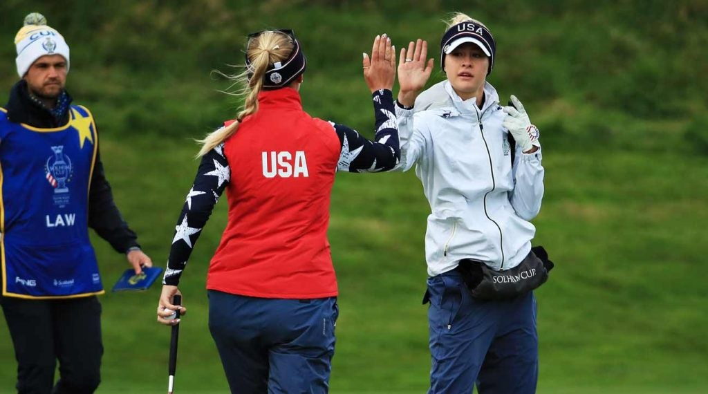 The American team of Jessica and Nelly Korda added another dominant win Saturday morning at the Solheim Cup.