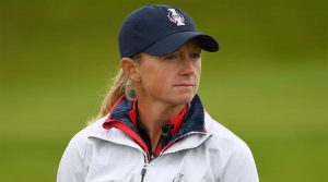 Stacy Lewis, shown on Tuesday at the Solheim Cup in Scotland, withdrew from the U.S. roster.
