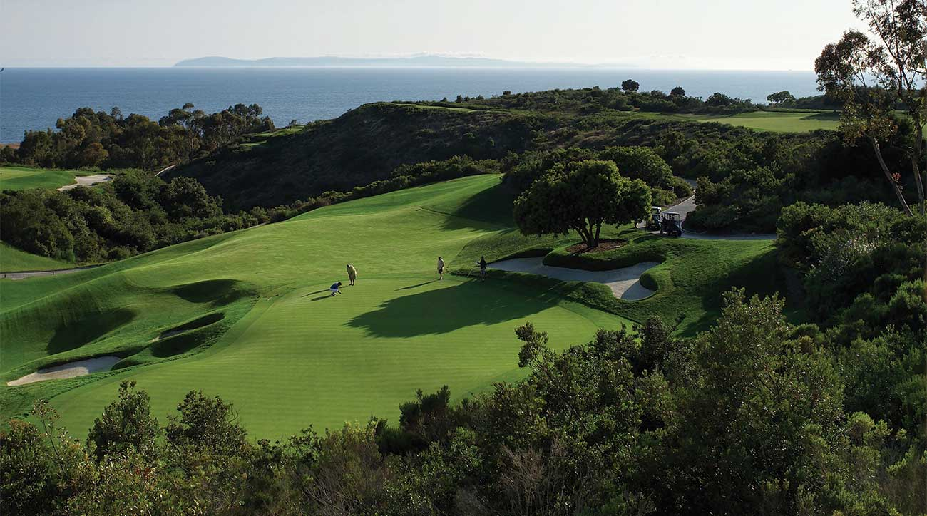 The 18th hole of the Ocean South Course at The Resort at Pelican Hill.