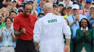 Tiger Woods celebrates his 2019 Masters victory at Augusta National.