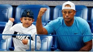 Tiger Woods and his son Charlie cheer on Rafael Nadal at the 2019 U.S. Open in New York City.