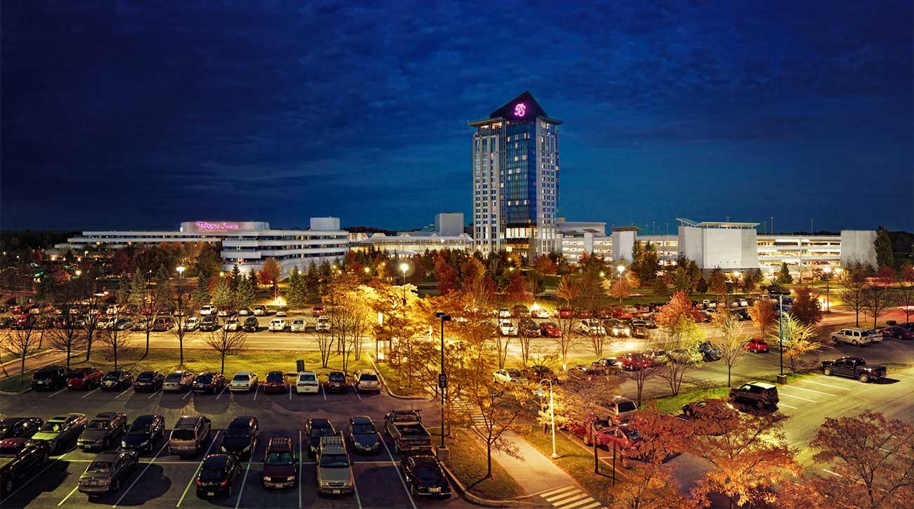 A twilight view of Turning Stone Resort & Casino in Verona, N.Y.