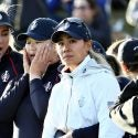 Lexi Thompson (from left), Angel Yin and Danielle Kang watch the final minutes of the U.S. Solheim Cup team's loss to Europe on Sunday at Gleneagles in Auchterarder, Scotland.