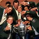 The U.S. Walker Cup team celebrates its victory on Sunday in Hoylake.