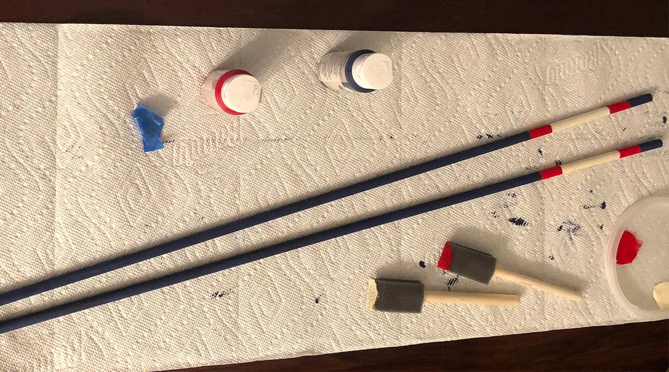 Painting stripes on your alignment sticks is easy, just make sure you use your painters tape accordingly.