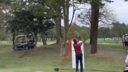 Bubba Watson took an unconventional approach to the par-5 6th hole at Narashino Country Club.