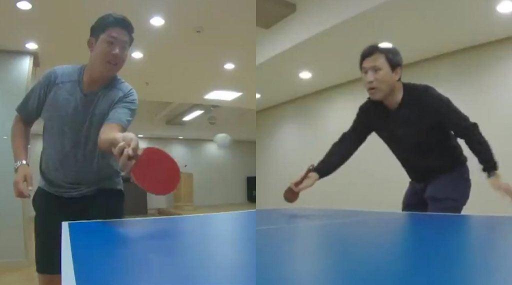 PGA Tour pro Byeong Hun An (left) plays his father Ahn Jae-hyung in ping pong.