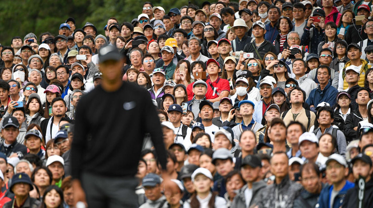 CHIBA, JAPAN - OCTOBER 24: Fans watch Tiger Woods on the ninth green during the first round of The ZOZO Championship at Accordia Golf Narashino Country Club on October 24, 2019 in Chiba, Japan. (Photo by Ben Jared/PGA TOUR via Getty Images)