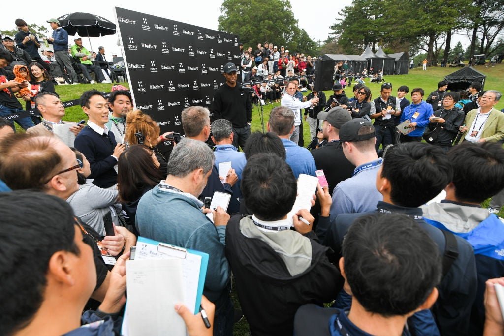 CHIBA, JAPAN - OCTOBER 24: Tiger Woods stands in a press conference after his round during the first round of The ZOZO Championship at Accordia Golf Narashino Country Club on October 24, 2019 in Chiba, Japan. (Photo by Ben Jared/PGA TOUR via Getty Images)