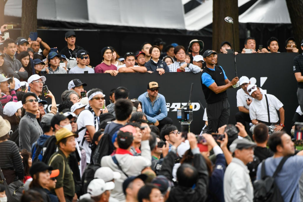 CHIBA, JAPAN - OCTOBER 27: Tiger Woods watches his shot on the 17th tee during the third round of The ZOZO Championship at Accordia Golf Narashino Country Club on October 27, 2019 in Chiba, Japan. (Photo by Ben Jared/PGA TOUR via Getty Images)