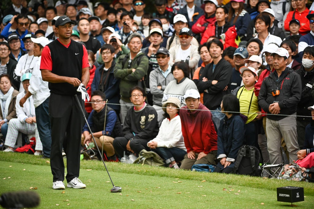 CHIBA, JAPAN - OCTOBER 27: Tiger Woods stands behind his ball on the sixth tee during the final round of The ZOZO Championship at Accordia Golf Narashino Country Club on October 26, 2019 in Chiba, Japan. (Photo by Ben Jared/PGA TOUR via Getty Images)