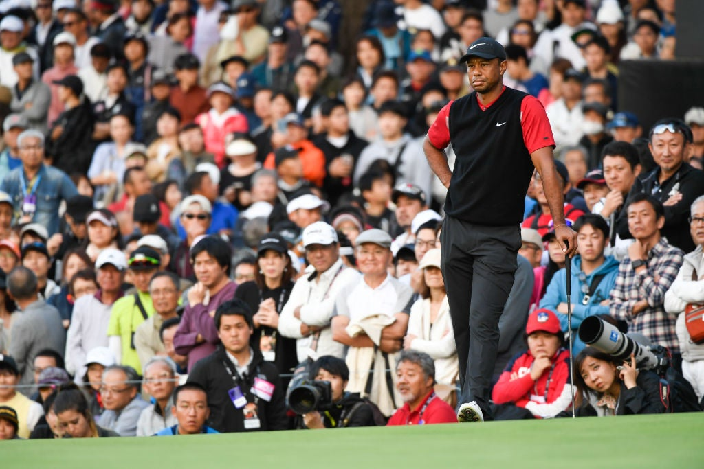 CHIBA, JAPAN - OCTOBER 27: Tiger Woods stands on the ninth green during the final round of The ZOZO Championship at Accordia Golf Narashino Country Club on October 26, 2019 in Chiba, Japan. (Photo by Ben Jared/PGA TOUR via Getty Images)