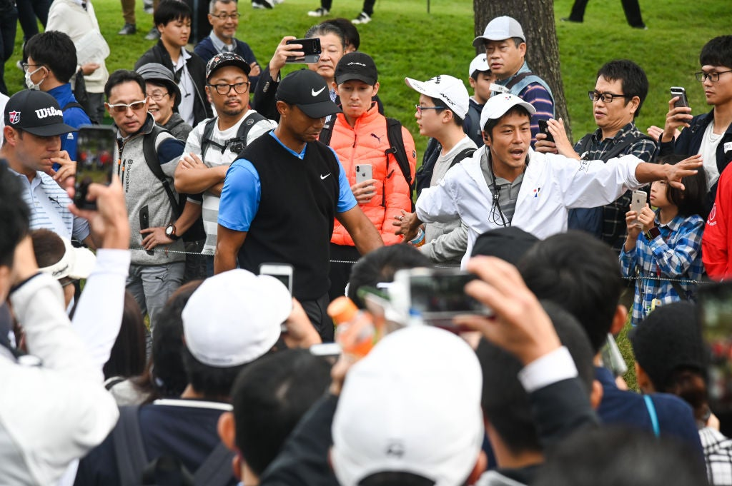 CHIBA, JAPAN - OCTOBER 27: Tiger Woods walks to the third tee box during the third round of The ZOZO Championship at Accordia Golf Narashino Country Club on October 27, 2019 in Chiba, Japan. (Photo by Ben Jared/PGA TOUR via Getty Images)