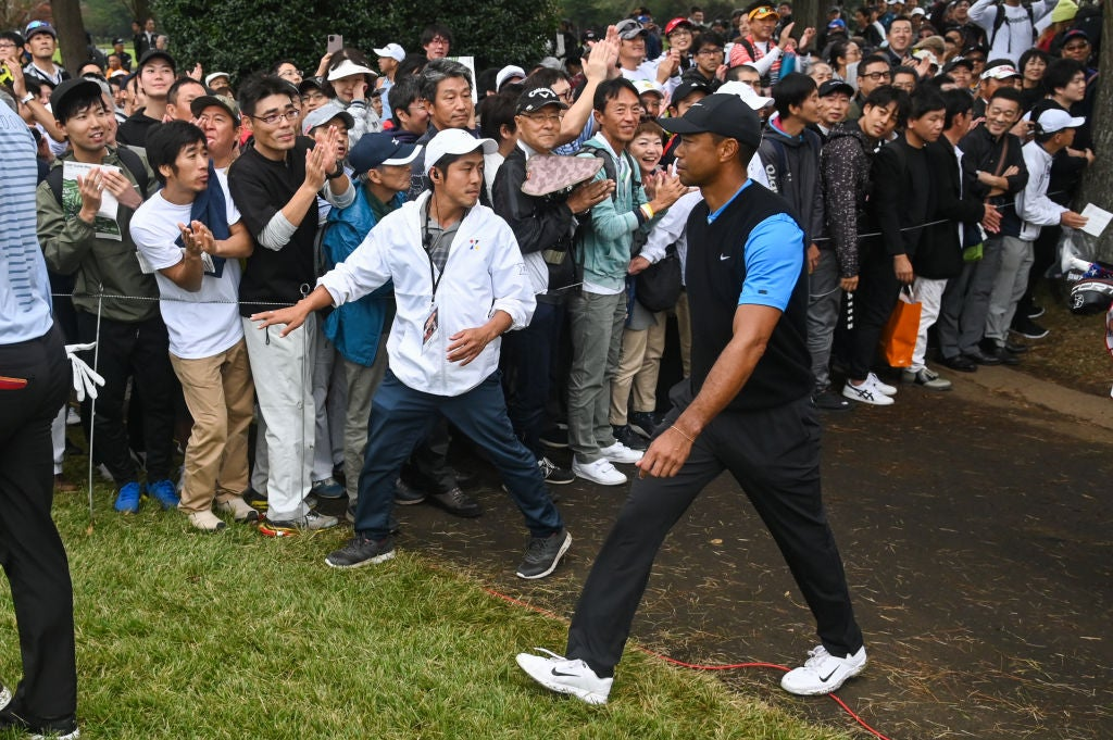 CHIBA, JAPAN - OCTOBER 27: Tiger Woods walks to the fourth tee box during the third round of The ZOZO Championship at Accordia Golf Narashino Country Club on October 27, 2019 in Chiba, Japan. (Photo by Ben Jared/PGA TOUR via Getty Images)