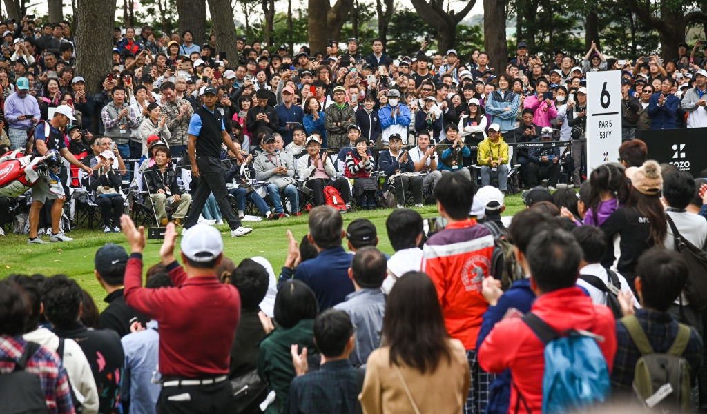 CHIBA, JAPAN - OCTOBER 27: Tiger Woods walks onto the sixth tee box during the third round of The ZOZO Championship at Accordia Golf Narashino Country Club on October 27, 2019 in Chiba, Japan. (Photo by Ben Jared/PGA TOUR via Getty Images)