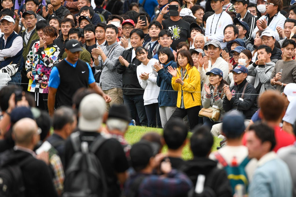 CHIBA, JAPAN - OCTOBER 27: Fans cheer for Tiger Woods walking to the 16th tee during the third round of The ZOZO Championship at Accordia Golf Narashino Country Club on October 27, 2019 in Chiba, Japan. (Photo by Ben Jared/PGA TOUR via Getty Images)