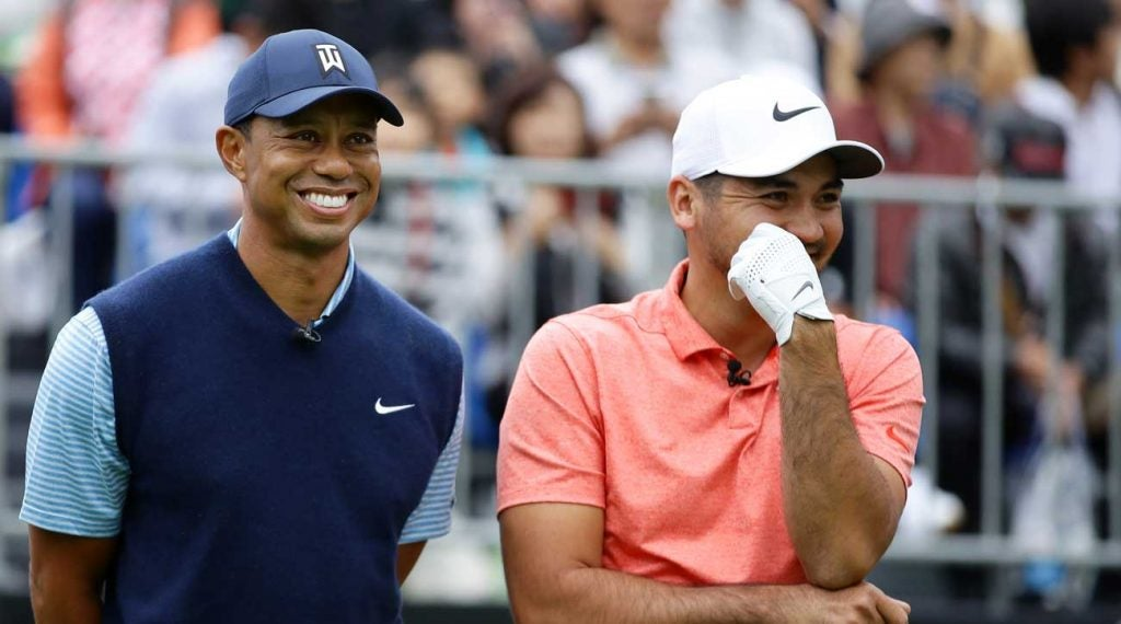 Tiger Woods rallied into contention but Jason Day was the champion at the Japan Skins Challenge.