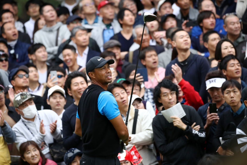 INZAI, JAPAN - OCTOBER 27: Tiger Woods of the United States hits his tee shot on the 6th hole during the third round of the Zozo Championship at Accordia Golf Narashino Country Club on October 27, 2019 in Inzai, Chiba, Japan. (Photo by Chung Sung-Jun/Getty Images)