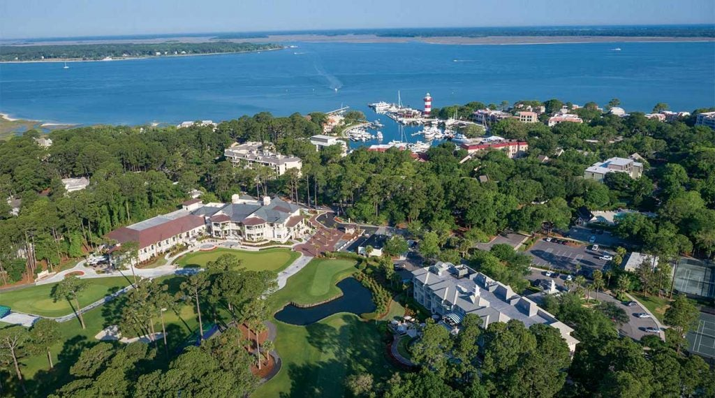 An aerial view of Harbour Town at Sea Pines Resort.