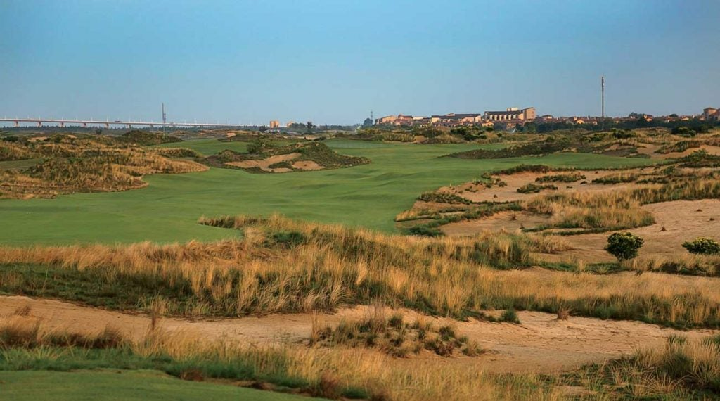 A view from the first tee at Yangtze Dunes.
