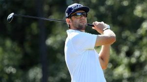 Lanto Griffin watches a tee shot during the final round of the Houston Open on Sunday at the Golf Club of Houston.