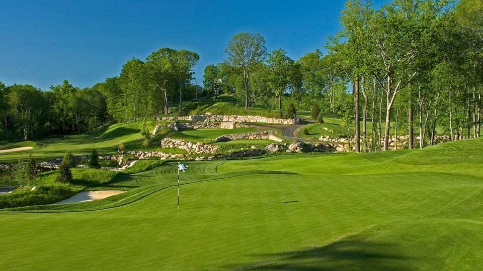 The 11th hole at Pound Ridge showcases the country club quality conditions and obstacles golfers face at this Pete Dye design.