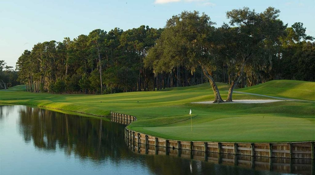 A shot of the 16th hole at TPC Sawgrass' Stadium Course.