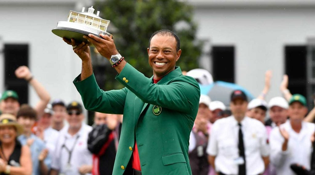 Tiger Woods holds up his trophy after winning the 2019 Masters at Augusta National.