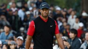 Tiger Woods walks off the green at the Zozo Championship.