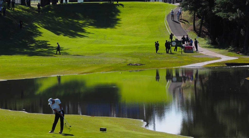 C.T. Pan tees off on the shortened par-4 10th hole at Accordia Golf Narashino Country Club.