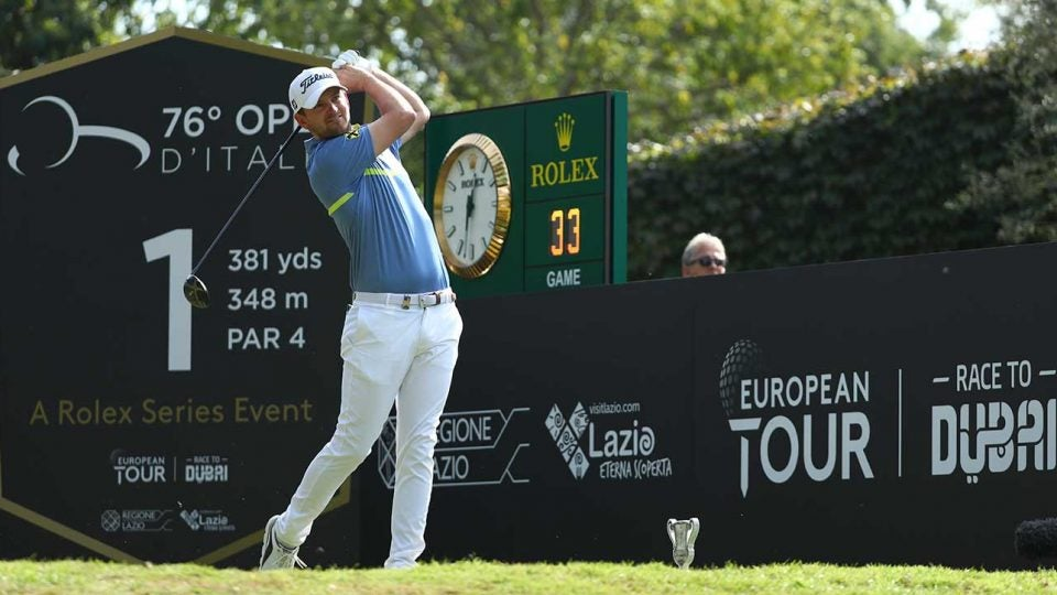 Bernd Wiesberger tees off during the final round of the Italian Open. He shot 65 and won by one.