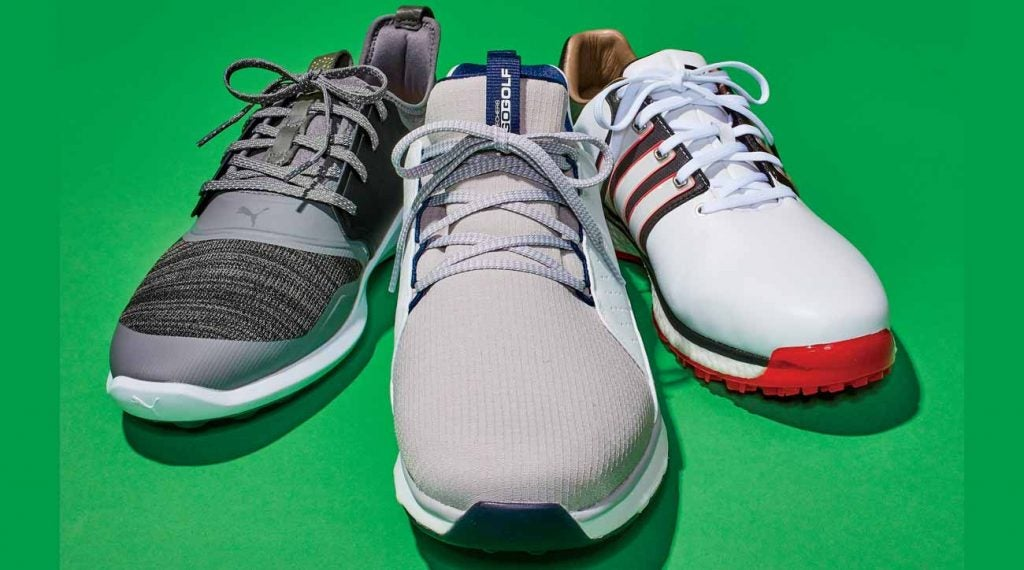 From left to right: Puma Ignite NXT Lace golf shoe; Skechers Go Golf Mojo Elite golf shoe; Adidas Tour 360 XT-SL golf shoe.