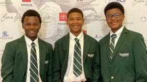 Three members of the Georgia state champion Drew Charter high school golf team.