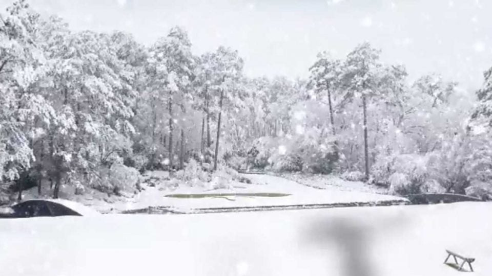Augusta National's Amen corner balnketed in snow in a Masters-Game of Thrones teaser video from April.