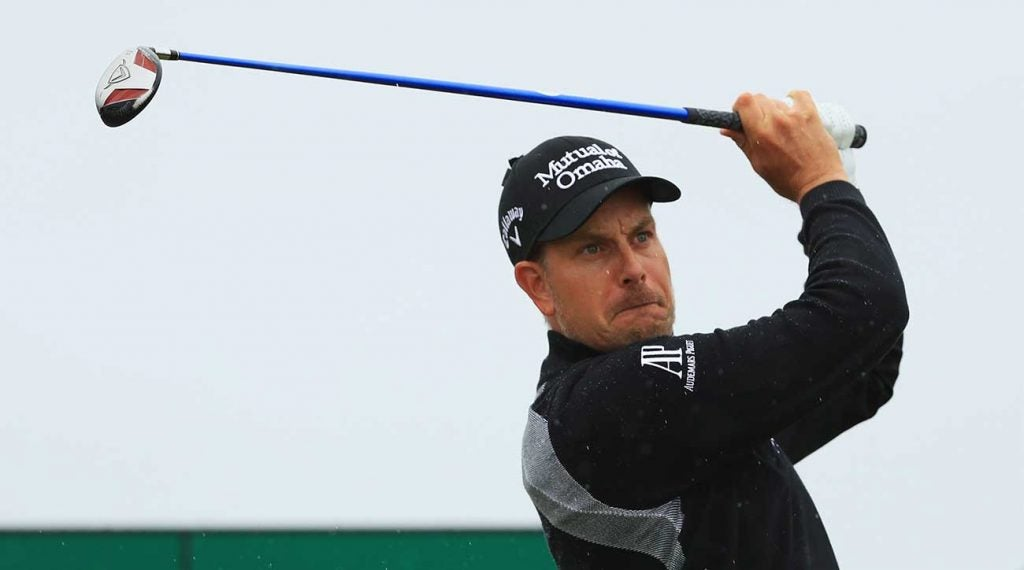 Henrik Stenson takes a mighty swing with his 3-wood during the 2016 Open Championship, which he won to claim his first major title.