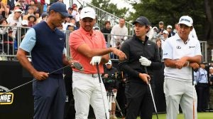 Tiger Woods, Jason Day, Rory McIlroy and Hideki Matsuyama chat before teeing off in the Japan Skins.