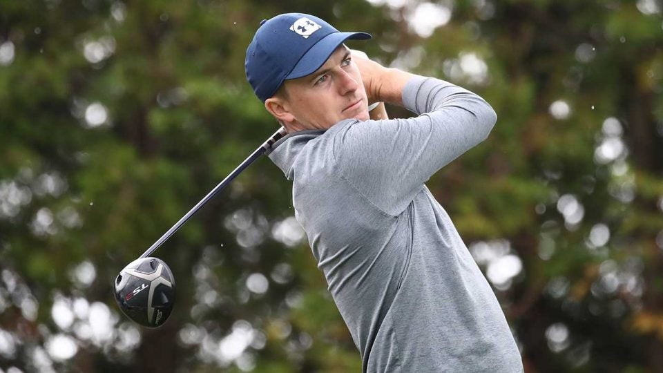 Jordan Spieth watches a tee shot during the second round of the CJ Cup on Friday.