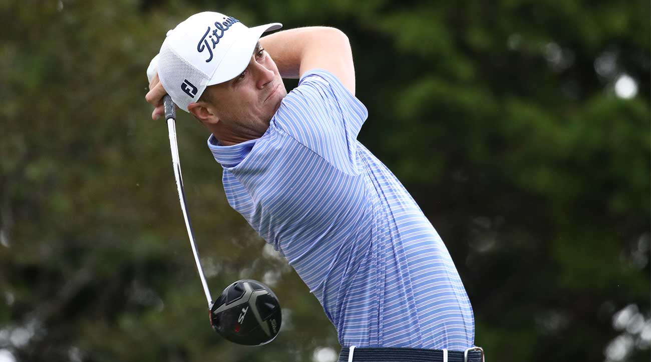Justin Thomas hits a drive during the second round of the CJ Cup.