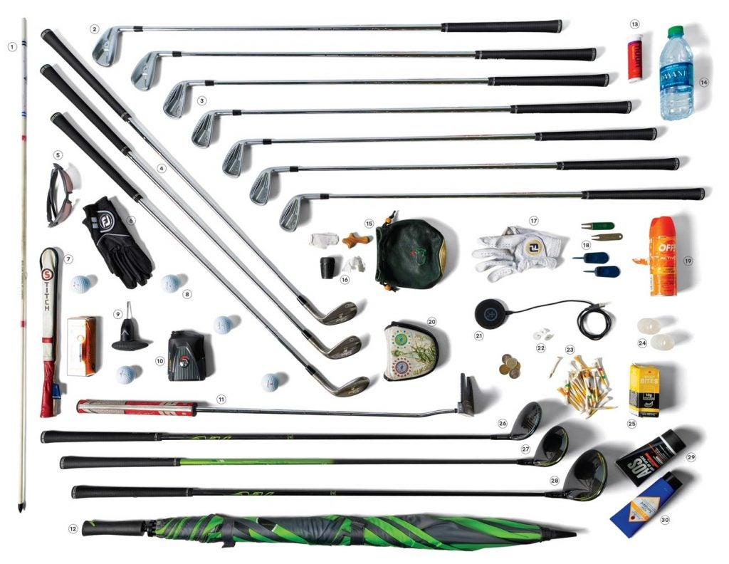 All of the items Kevin Kisner keeps in his PGA Tour golf bag.