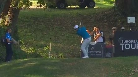 Kurt Kitayama hits his tee shot on the 16th hole during the second round of the Italian Open.