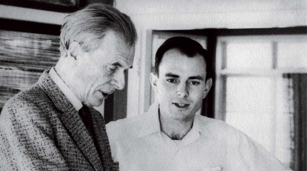 Michael Murphy as a young man, with renowned philosopher Aldous Huxley, whose writing deeply influenced the founding of Esalen.