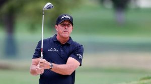 Phil Mickelson hits a shot during the Safeway Open in Napa, Calif.